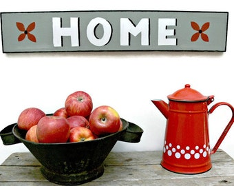 """Hand Painted Wood """"Home"""" Sign in Gray White Red & Black, 25"""" x 4.5"""", Rustic Country Farmhouse Wall Decor"""