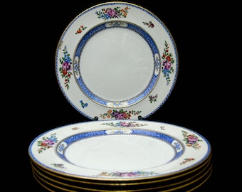 """Booths Silicon China Luncheon Plates, Set of Six 9"""", Antique Gilded Porcelain Made in England, Blue Border Floral Spray Pattern"""