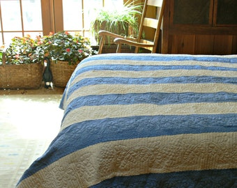 """Blue and White Striped Cotton Quilt, Full Size 86"""" x 94"""", Trapunto Quilting, Vintage Coverlet"""