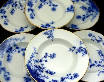 """Flow Blue Soup Bowls, Large 9"""" Gilded Rim, Set of 6 Rare Antique W. H. Grindley Duchess China Pattern, Made in England"""