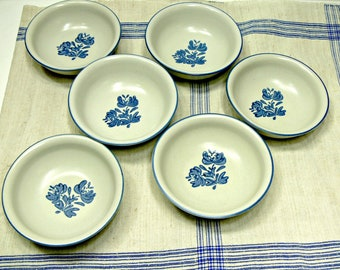 Pfaltzgraff Yorktowne Soup or Cereal Bowls, Set of 6 Vintage Blue and White Stoneware Pottery