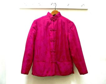 Chinese Silk Embroidered Brocade Padded Jacket, Vintage Peony Brand, Shanghai China, Women's Size Medium, Deep Rose Pink