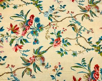 "Vintage Brunschwig & Fils Locklin Plantation Fabric Hand Printed Cotton Linen Panel 31"" x 120,"" Floral with Birds"