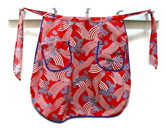 1950s Half Apron with Pockets, Vintage Red Blue & White Cotton Floral Made in Germany