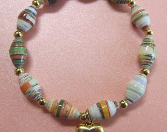 Down to Earth Paper Bead Stretch Bracelet