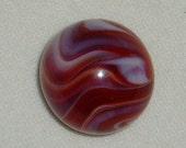 CAC Toy Marble Striped Transparent, Christensen Agate, Electric Red and White, 11 16 quot , 1920 39 s, Free USA Shipping