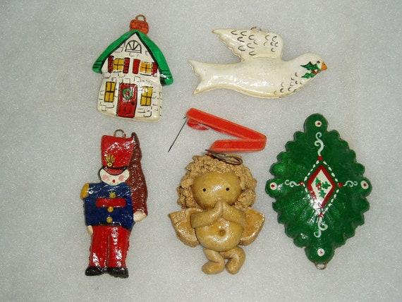 Christmas Ornaments, Salt Dough, Dove, Angel, House, Tin Soldier, Medallion, Vintage 1970s