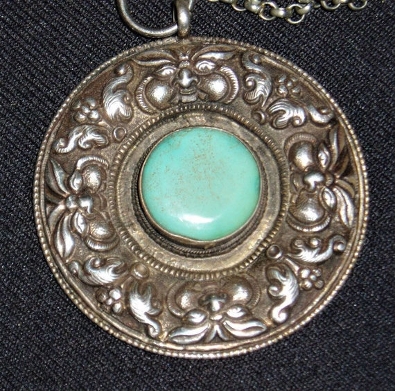 Sterling & Turquoise Pendant, God Faces and Floral