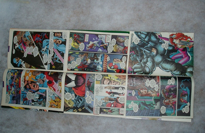 Scrapbooking or Art Project Supplies Spiderman Superhero 16 Comic Book Pages Upcycle