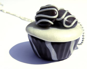 Marbled chocolate cupcake - polymer clay jewelry necklace