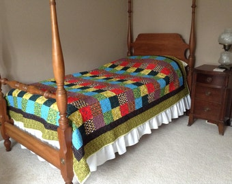 Twin colorful patchwork quilt
