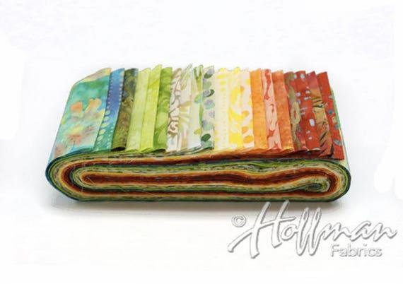 Bali Batiks Meadow Bali Poppy 20 2.5-inch Strips Jelly Roll Hoffman Fabrics BPP-170-Meadow