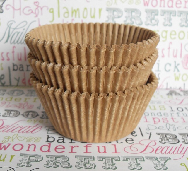 50 Natural Unbleached Kraft Cupcake Liners, Baking Cups, Unbleached Cupcake Wrappers, Wedding Cupcake Liners, Vegan Baking Cups