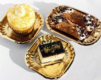 50 Gold Mini Dessert Plates, Gold Wedding Mini Dessert Plates, Gold Appetizer Plates, Gold Mini Pastry Plates, Cupcake Plates, Party Plates