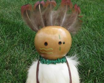 Spirit Doll, Gourd Art Doll, Turtle Kachina, Malachite Stones, Moonstone Cabochons, Medicine Bag Pouch, White Rabbit Hide, Pheasant Feathers