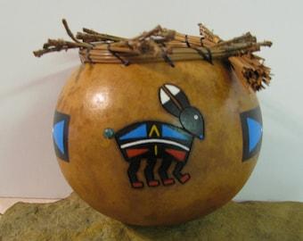 Jack Rabbit Gourd Bowl, Totem Art, Southwestern Home Decor, Pyrography, Pine Needles, Copper Turquoise Cab