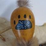 Gourd Rattle Shaker , Hand Painted Gourd , Bobcat Medicine , Bobcat Rattle , Meditation Tool , Handcrafted Rattle , Bobcat Fur , Music , Art