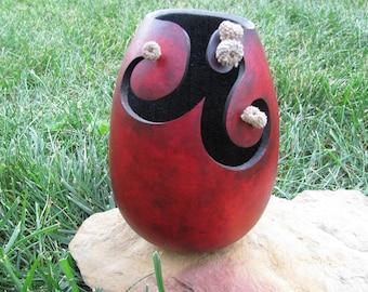 Decorative Vase Bowl, Carved Gourd Art, Wine Colored Vases, Nature Inspired Art, Natural Home Decor, Wine and Black Color, Handcarved Gourds