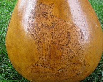 Gourd Art , Wolf Art , Four Directions , Pyrography Woodburning , Turquoise Cabochon , Hand Painted Gourd , Animal Totem Art ,Spirit Animal