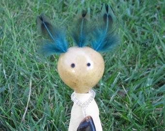 Miniature Art Dolls, Spirit Dolls, Gourd Art Doll, Decorative Dolls, Buckskin Deer Hide, Deer Dew Claw, Czech Glass Beads, Pheasant Feathers