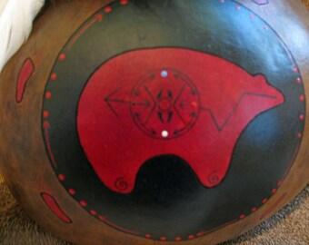 Kachina , Gourd Art , Handpainted Gourd , Red Bear , Medicine Wheel , Bear Art , Bear Medicine , 4 Directions , Handmade Art , Handcrafted