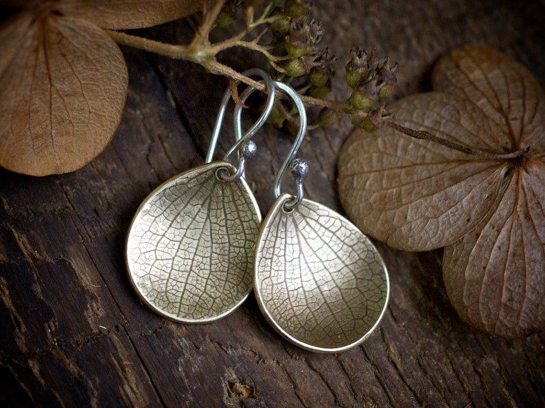 Hydrangea Earrings Brass Petal Earrings Rustic Botantical image 0