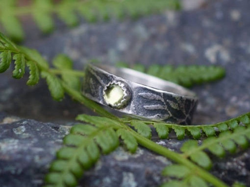 Sterling Peridot Ring Rustic Ring 4mm Peridot Sterling Ring image 0