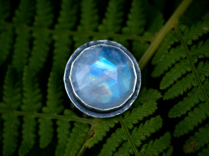 Rainbow Moonstone Sterling Ring Moonstone Jewelry Blue Flash image 0
