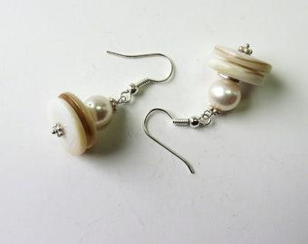 Earrings - freshwater white pearls, mother of pearl, silver, classic, elegant, simply beautiful - #3130 SundtStudios
