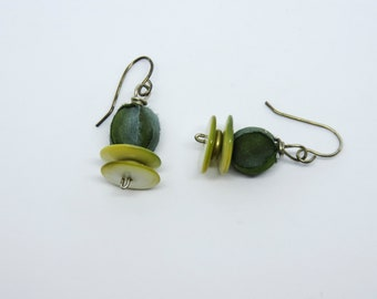 Earrings - silk-wrapped beads, mother-of-pearl button beads, sterling silver, cozy, classic, balanced - #2888 SundtStudios