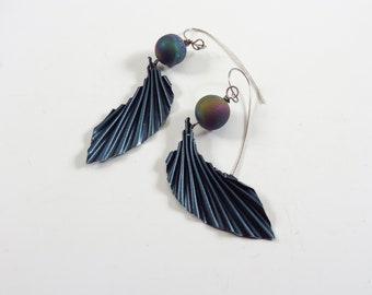 Earrings - rainbow titanium aura quartz druzy beads, repurposed corrugated aluminum, sterling silver - #4427 SundtStudios