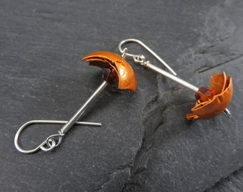 Earrings - hammered recycled aluminum hemispheres, orange crystals, sterling silver, playful, fresh, contemporary style - #4410 SundtStudios