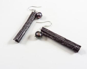 Earrings - corrugated grey aluminum, Chinese peacock pearls, drop style, modern, geometric, elegant - #4423 SundtStudios