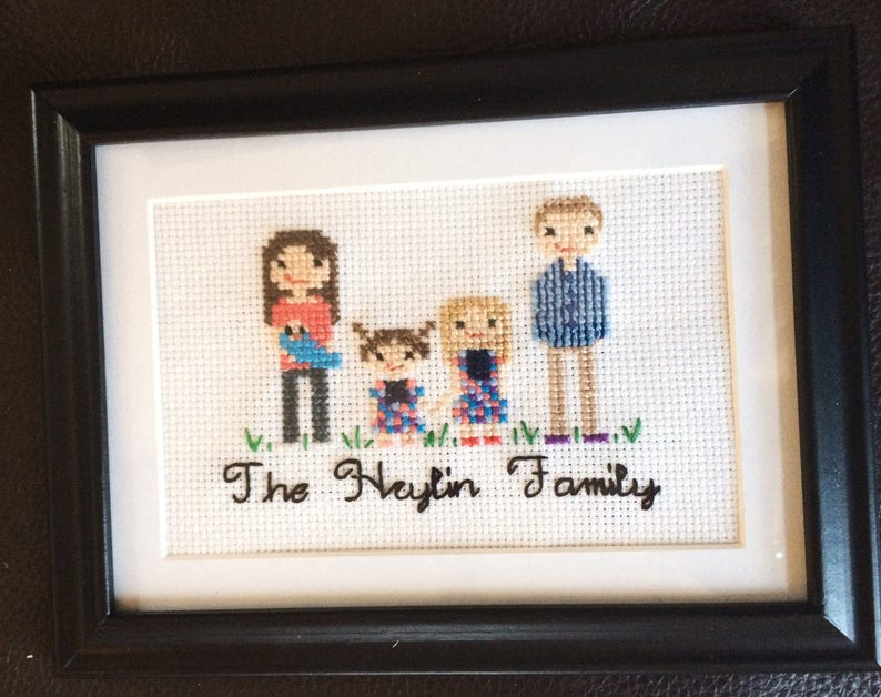 Personalized Family Portraits cross stitch cross stitch portrait personalized gifts family Mother/'s Day gift under 100 cotton anniversary