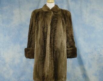 Vintage 40s 50s WWII Era Sheared Raccoon Short Swing Coat Jacket, Sz Med Lg 10 12 14