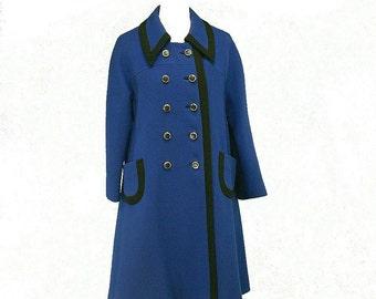 Vintage 60s 70s Designer Mod Military Double Breasted A-Line Flared Coat, Med Large 10 12