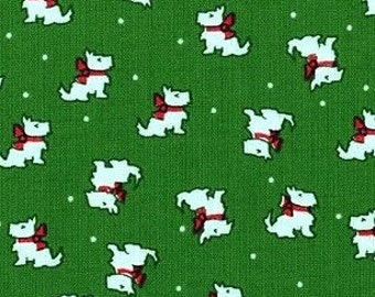 Windham Fabrics. Storybook Christmas. Scotty Dogs Green - Cotton fabric BTY - Choose your cut