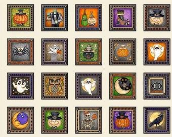 Quilting Treasures. Creepy Hollow Cream Halloween Patch - 2/3 yard fabric panel
