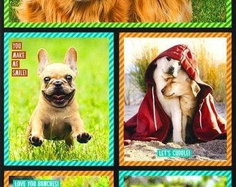 23.5 X 44 Panel Dogs Photos Animals Golden Retriever French Bull Dog Pug Doggy Pets Words Quotes I Ruv You Digital Cotton Fabric D364.13