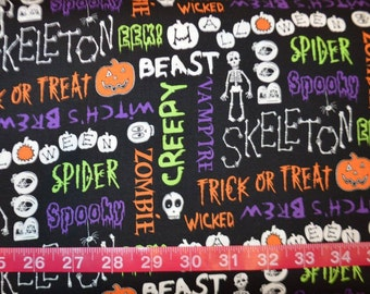 Blank Quilting. The Boo Crew. Trick or Treat Black - BTY Cotton Fabric - Choose your cut