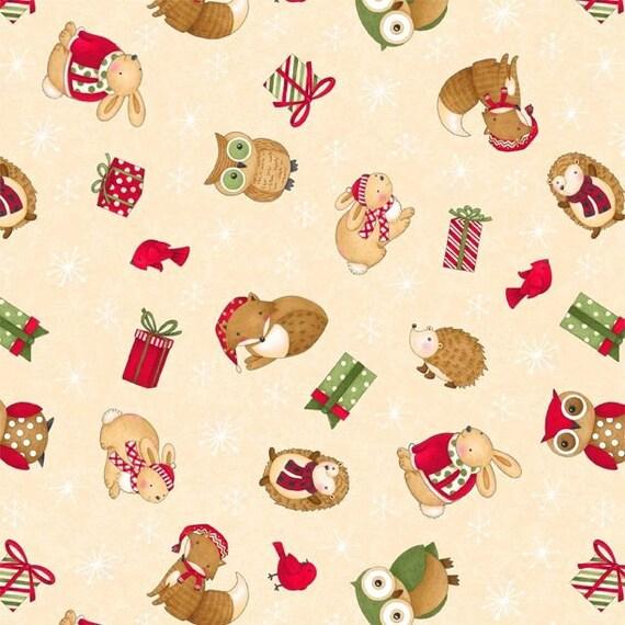 Christmas Animals Hedgehog Fox Owl Cotton Fabric Wilmington Santa Friends Yard