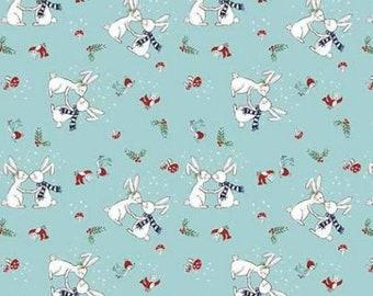 Riley Blake. Pixie Noel. Pixie Bunnies Aqua - Cotton Woven Fabric BTY - Choose your cut