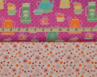 Benartex. Kitchen Love. Tea & Coffee Dark Pink with Made with Cherry Love White/Red - Cotton fabric BTY - Choose your cut and print