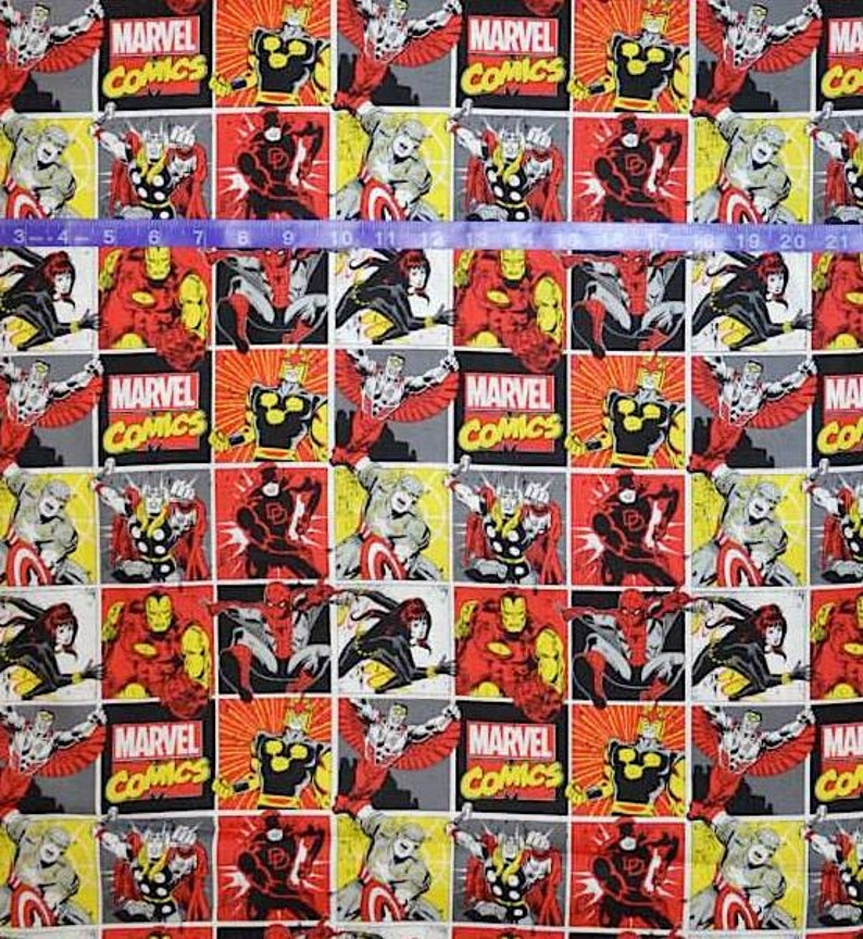 Marvel Immortals Blocks Camelot 100/% cotton fabric by the yard