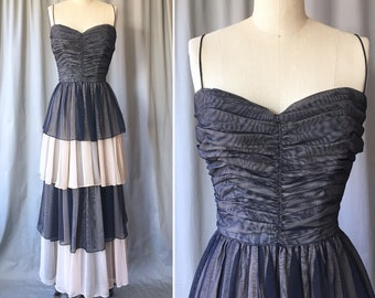 """0db93abf98 1940s Evening Gown - Small 35"""" Bust - Vintage 40s Rayon Net Tiered Ball Gown  in Navy Blue   Pink - Ruched Sweetheart Bodice + Layered Skirt"""