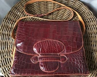 Vintage 1970s Oxblood Alligator Skin Convertible Shoulder Bag w Pockets