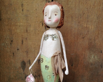 Mermaid, Sea, Spring, Folk Art, Paperclay