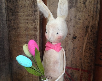 Easter, Bunny, White, Easter Egg Bouquet, Spring, Folk Art, Paperclay