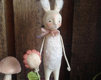 Easter, Bunny, White, Flower, Spring, Folk Art, Paperclay
