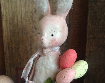 Easter, Bunny, Pink, Easter Egg Bouquet, Spring, Folk Art, Paperclay